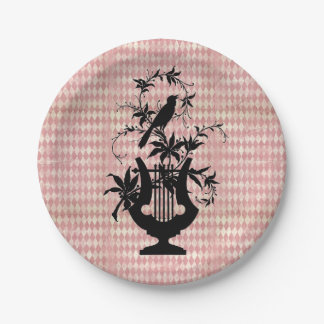 Harlequin Harp Bird Silhouette Paper Plates