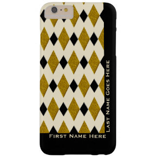 Harlequin in Gold, Black, Cream (Personalized) Barely There iPhone 6 Plus Case