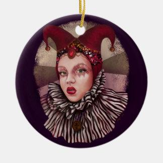 Harlequin Jester  Ceramic Ornament