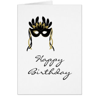 Harlequin Mask Happy Birthday Card