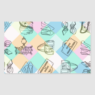 Harlequin Paris Shopping Rectangle Stickers