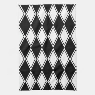 Harlequin Pattern Black and White Tea Towel