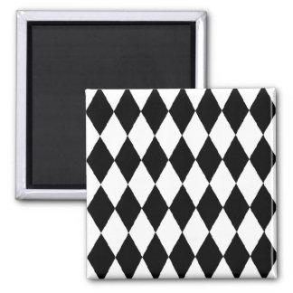 Harlequin pattern, elegant black and white design magnet