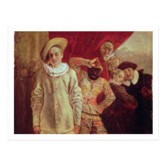 Harlequin, Pierrot and Scapin, Actors from the Com Postcard