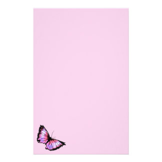 """Harlequin"" (Pink Butterfly) Stationery"