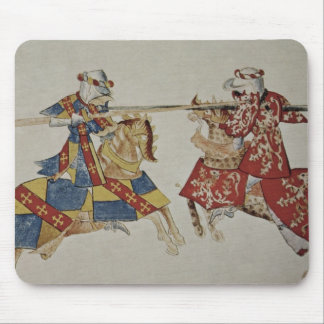 Harley 4205 f.366 Jousting Knights, c.1445 (vellum Mouse Pad