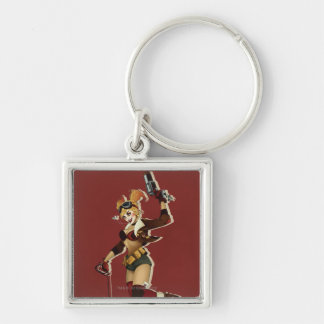 Harley Quinn Bombshell Silver-Colored Square Key Ring
