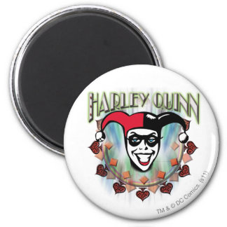 Harley Quinn - Face and Logo 6 Cm Round Magnet