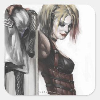 Harley Quinn Illustration Square Stickers