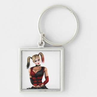 Harley Quinn Silver-Colored Square Key Ring