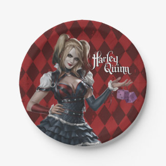 Harley Quinn With Fuzzy Dice Paper Plate