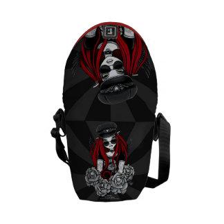 Harley Red Tattoo Biker Rose Angel Messenger Bag