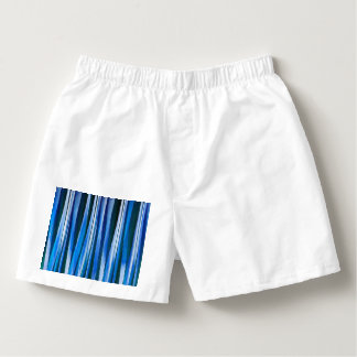 Harmony and Peace Blue Striped Abstract Pattern Boxers