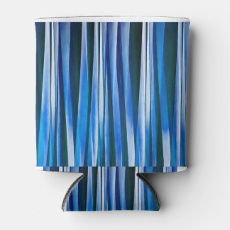 Harmony and Peace Blue Striped Abstract Pattern Can Cooler