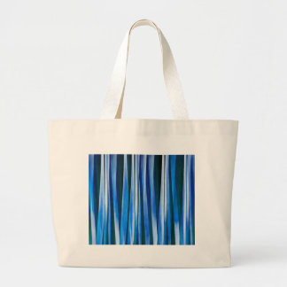 Harmony and Peace Blue Striped Abstract Pattern Large Tote Bag