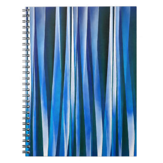 Harmony and Peace Blue Striped Abstract Pattern Notebook