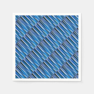Harmony and Peace Blue Striped Abstract Pattern Paper Napkin