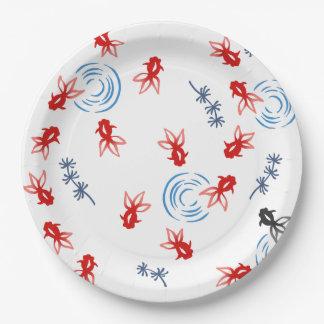 < Harmony handle goldfish >Goldfishes of Japanese Paper Plate