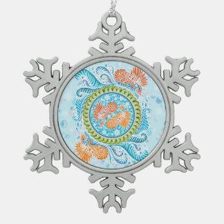 Harmony of the seas ,boho,hippie,bohemian snowflake pewter christmas ornament
