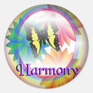 Harmony Rainbow  Fade to Black Round Stickers
