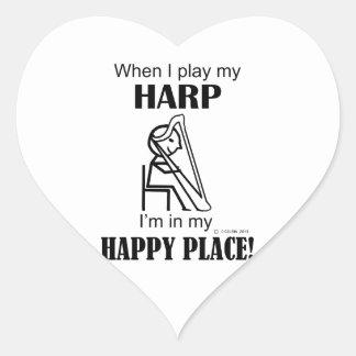 Harp Happy Place Heart Sticker