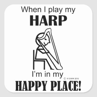 Harp Happy Place Square Sticker