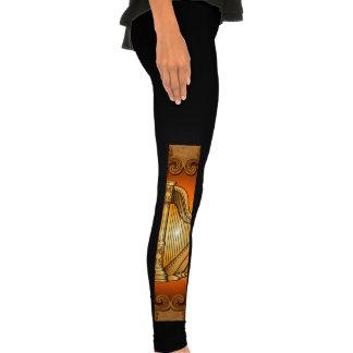 Harp in gold with elegant damasks legging tights