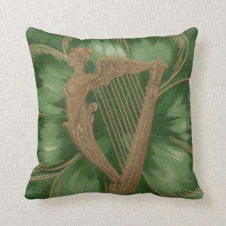 Harp of Erin Four Leaf Clover Green Cushion
