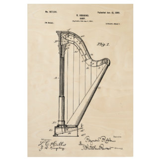 Harp Patent Invention Wood Poster
