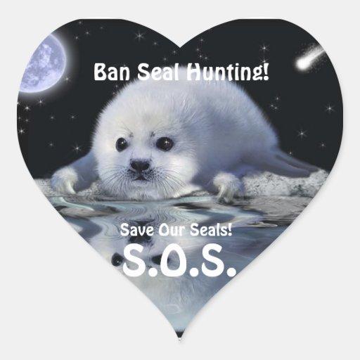 HARP SEAL Anti Seal-Hunt Wildlife Heart Sticker