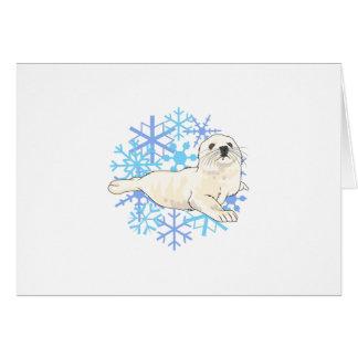 HARP SEAL SNOWFLAKES CARD