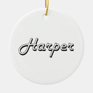 Harper Classic Retro Name Design Round Ceramic Ornament
