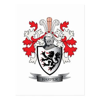 Harper Family Crest Coat of Arms Postcard