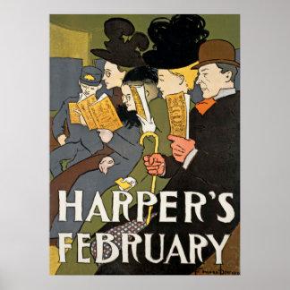 Harpers February Vintage Poster