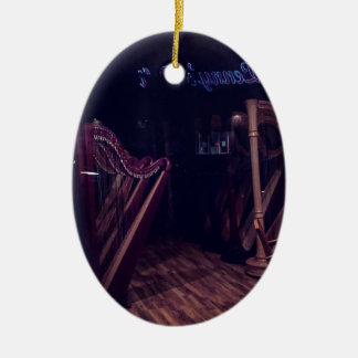 Harps in shadow ceramic ornament