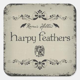 Harpy Feathers Halloween Jar Sticker Label