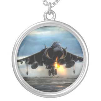 HARRIER AIRCRAFT ROUND PENDANT NECKLACE