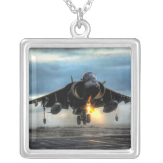 HARRIER AIRCRAFT SQUARE PENDANT NECKLACE