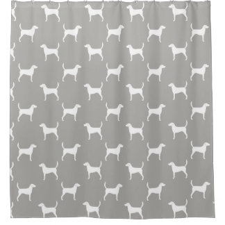 Harrier Dog Silhouettes Pattern Shower Curtain