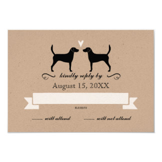 Harrier Dog Silhouettes Wedding Reply RSVP Card