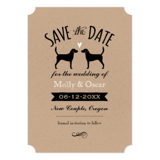 Harrier Dog Silhouettes Wedding Save the Date Card