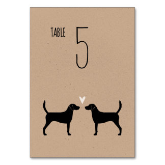 Harrier Dog Silhouettes Wedding Table Card