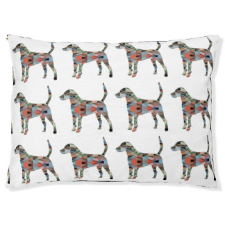 Harrier Hound Dog Geometric Pattern Silhouette Pet Bed