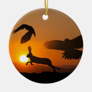 Harris Hawks Hunting Ornament
