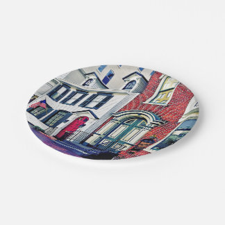 Harrisburg PA - Street With American Flag 7 Inch Paper Plate