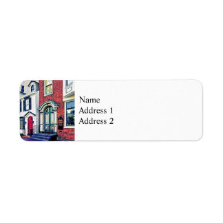 Harrisburg PA - Street With American Flag Return Address Label