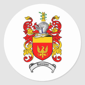 HARRISON FAMILY CREST -  HARRISON COAT OF ARMS ROUND STICKER