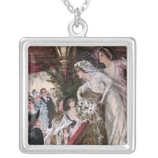 Harrison Fisher: Catch the Bridal Bouquet Square Pendant Necklace