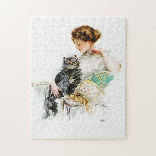 Harrison Fisher: Woman with Cat Jigsaw Puzzle