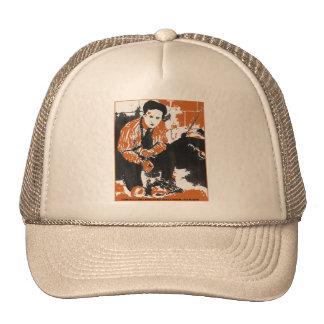 HARRY HOUDINI Black and Orange Art Illustration Trucker Hat
